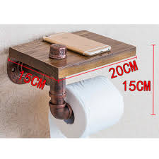 table paper holder style iron pipe toilet paper holder roller wood shelf bathroom