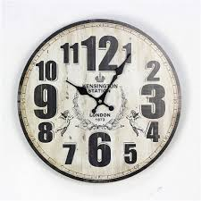 wall clock numbers retro vintage wood home decor chic british