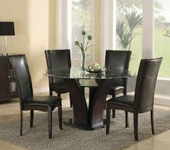 daisy 710 54 5p espresso wood glass round dining table set vinyl chair