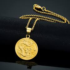 coin pendant necklace jewelry images Dragon patterned pendant jewelry yellow gold filled vintage golden jpg