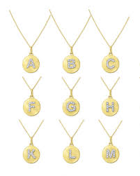 initial necklaces for kc designs 14k yellow gold diamond disc initial necklace