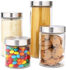clear glass kitchen canister sets oggi 4 square glass canister set with stainless
