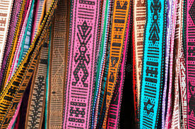 made belts with traditional mexican ornaments stock photo