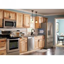 captivating brown color hickory kitchen cabinet featuring wall
