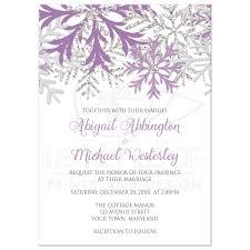 snowflake wedding invitations invitations winter snowflake purple silver