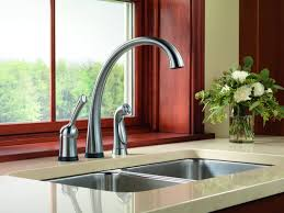 Delta Chrome Kitchen Faucets Black Wide Spread Delta Touch Kitchen Faucet Two Handle Pull Down