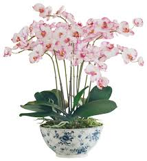 orchid plant orchid plant in trellis bowl asian artificial flower
