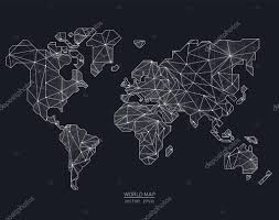 Black World Map by Vector World Map Illustration In Polygonal Style U2014 Stock Vector