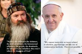 Phil Robertson Memes - phil robertson vs pope francis on gays huffpost