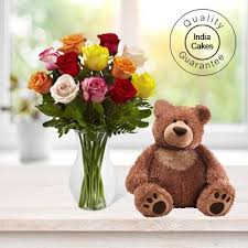 big teddy order 6 mix flowers with big teddy today indiacakes
