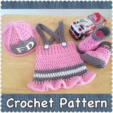 crochet pattern newborn baby fireman firefighter hat skirt