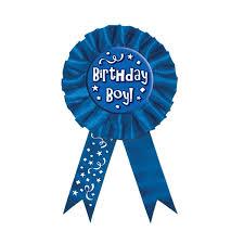 birthday ribbons blue birthday boy rosette award ribbon partycheap