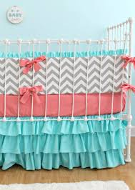 Turquoise Chevron Bedding Nursery Beddings Coral And Teal Bedding Together With Coral And