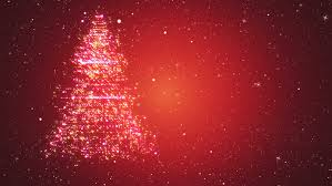 red snowy background with a rotating christmas tree of shiny