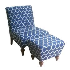 blue and white ottoman blue white fabric chair with block ottoman also four curving brown