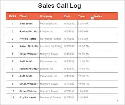 Sales Call Report Template Excel by Log Template 17 Free Word Excel Pdf Documents