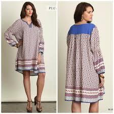 umgee usa v neck printed peasant top dress tunic boho blouse plus