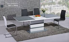 Black Gloss Dining Table And 6 Chairs Arctic Extending Dining Table In Grey From Giatalia Extending