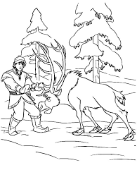 sven push kristoff princess anna coloring pages sven