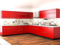 customfurnish com l shaped red kitchen modular kitchens throughout