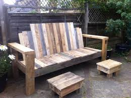 Patio Furniture Made Out Of Pallets - garden bench and footstools made from scrap pallet wood initially