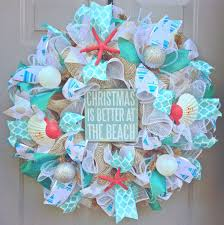 christmas is better at the beach burlap deco mesh wreath with sea