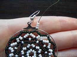 hoop beaded earrings how to make bead netted hoop earrings