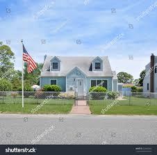 Front Porch Flag Pole American Flag Pole Suburban Cape Code Stock Photo 724647055