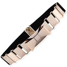 bow belts belt cut out gold metal bow belt with multi elastic quality