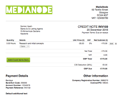 example of a invoice create a credit note u2013 freeagent support