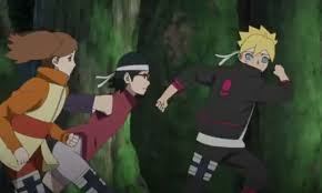 finding classmates sarada and boruto finding a way to escape with their classmates