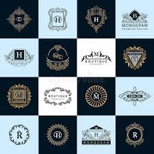 line graphics monogram vintage logos design templates set