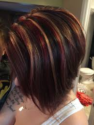 bolnde highlights and lowlights on bob haircut red blonde chunky highlight on dark base hair style ideas