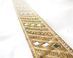Home Decor Trims Saree Border Gold Mirror Trim Mirror Work Sari Borders Indian