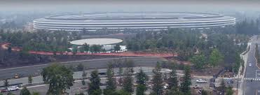 spaceship campus apple drone footage the steve jobs theater inside the new apple park