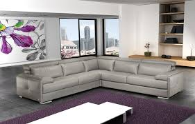 Gray Leather Sectional Sofas J M Furniture Gary Ash Grey Top Grain Italian
