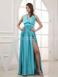 halter neck elastic satin evening gown with high slit
