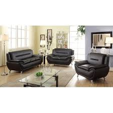 Modern Faux Leather Sofa Norton 3 Pc Black Faux Leather Modern Living Room Sofa Set