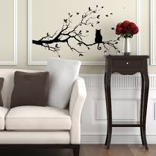 Decoration Cat Wall Decals Home by Cat On Tree Branch Birds Wall Sticker Vinyl Decal Mural Glass Film
