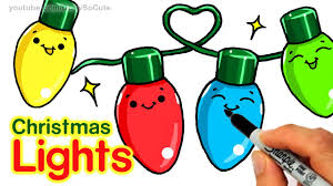 how to draw christmas holiday lights step by step easy and cute