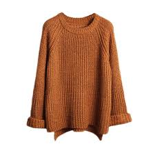 orange sweater lisli s batwing sleeve oversized pullover knitted