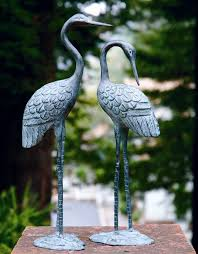 brass crane pair sculpture indoor outdoor garden bird heron