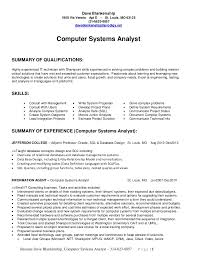 entry level business resume level systems analyst resume