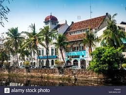 dutch colonial architecture buildings in old town of jakarta stock