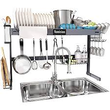 what size cabinet above sink the sink dish drying rack height adjustable romision stainless steel large dish drainer shelf above sink expandable for kitchen counter