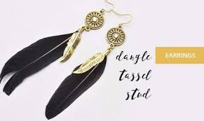feather earrings online india artificial jewellery online buy stylish trendy fashion jewelry