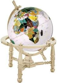 Small Desk Globe Small Opal Gemstone Globe With Gold Nautical Mounting