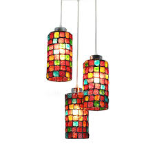 Stained Glass Pendant Light Colorful Stained Glass 3 Light Style Multi Light Pendant