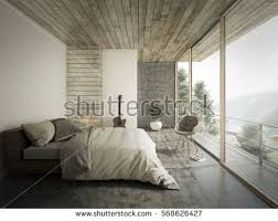 loft style bed loft style bedroom interior design 3d stock photo 568626427