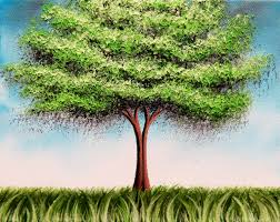 green tree art print tree print summer tree whimsical art